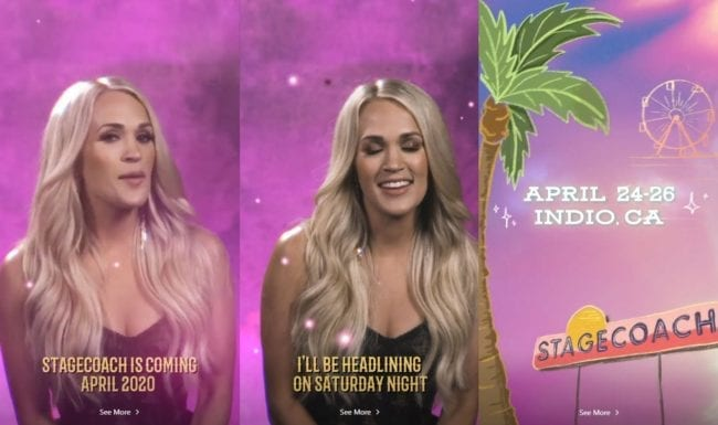 Carrie Underwood promoting Stagecoach event in an Instagram Story
